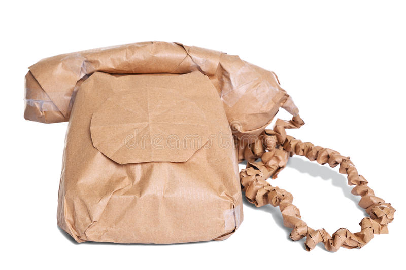Download Telephone Wrapped In Brown Paper Cut Out Stock Photo - Image: 19437952