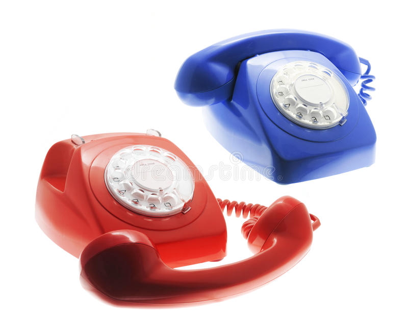 Telephones. On Isolated White Background stock images