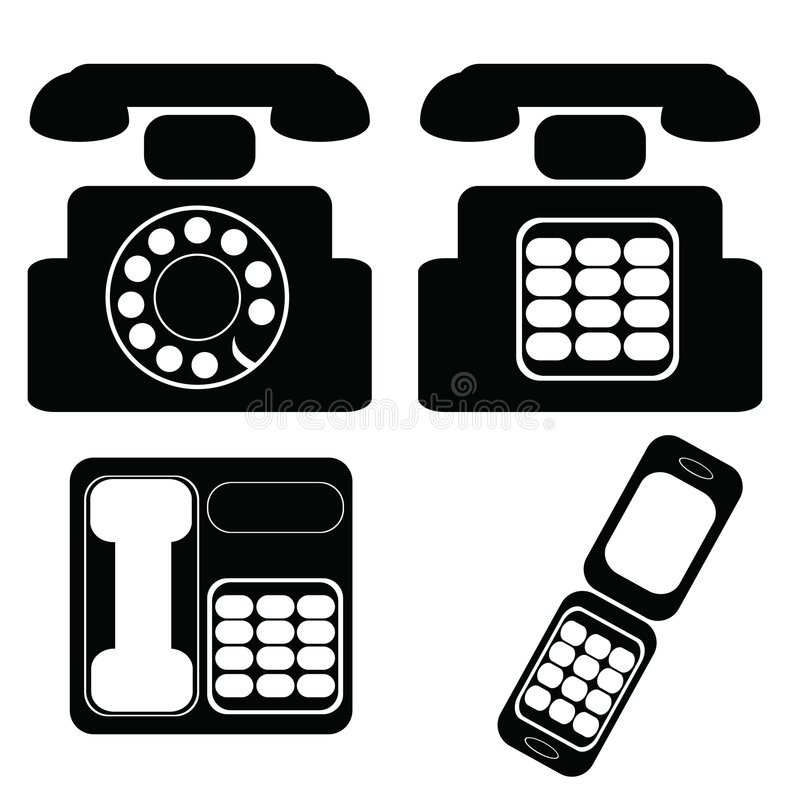 Telephones. Icon set of different models of telephones stock illustration