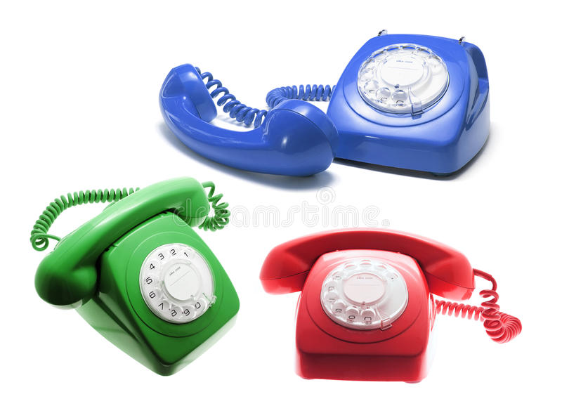Telephones. On Isolated White Background stock photo
