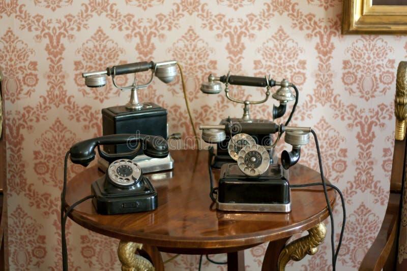Telephones retro. Old retro telephones concept background royalty free stock photography