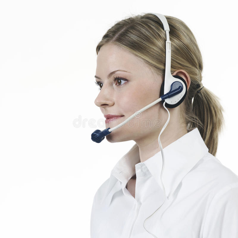 Telephonist White Shirt Royalty Free Stock Photos
