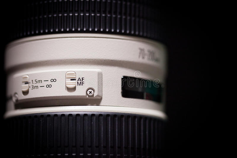Telephoto lens with auto/manual focus switch option royalty free stock photos
