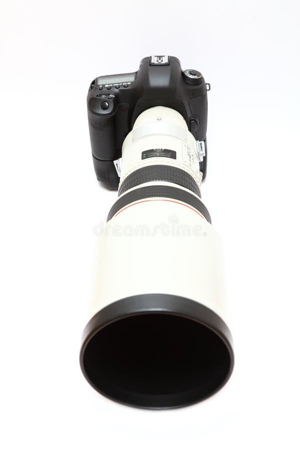 Telephoto lens on camera royalty free stock photo