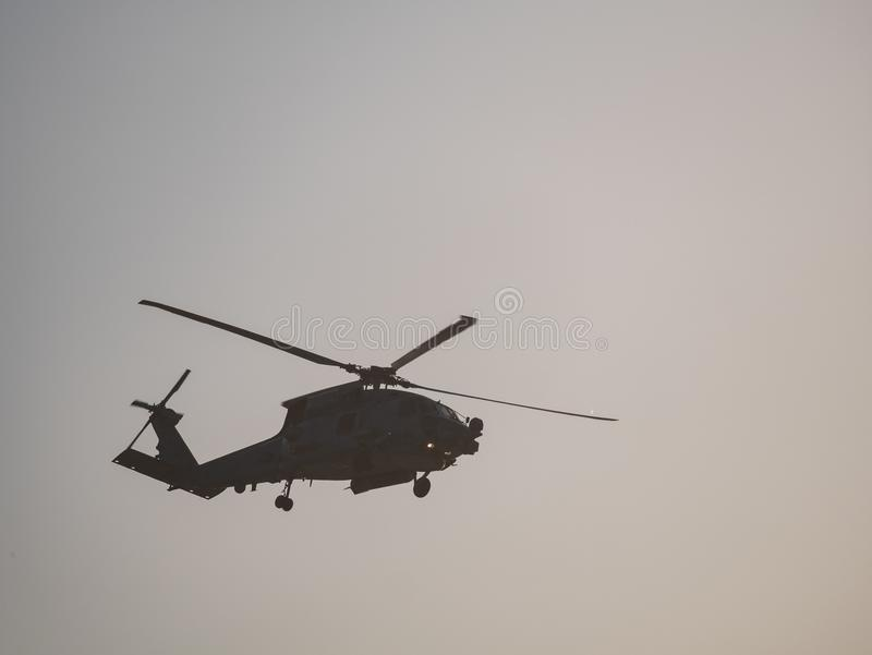 Telephoto short of a US military helicopter royalty free stock photo