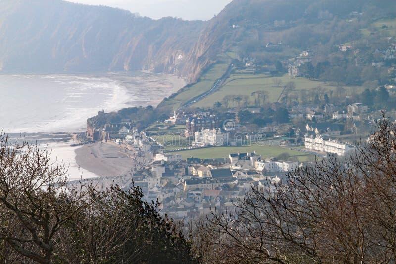 Telephotoskott av Sidmouth uppifrån av den Salcombe kullen royaltyfri fotografi