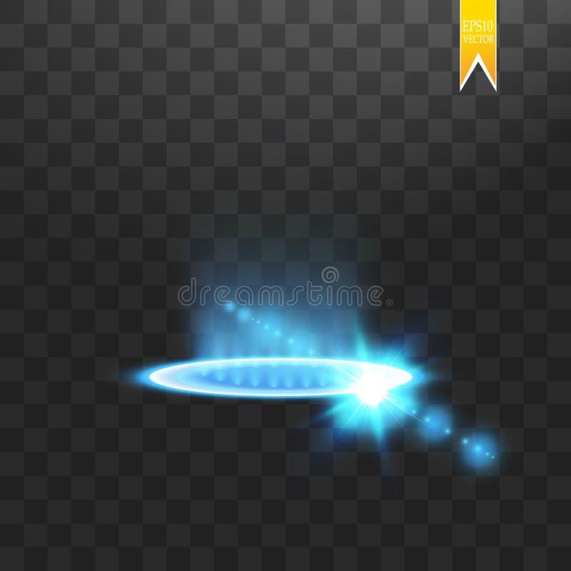 Футуристический teleport Волшебный портал фантазии Световой эффект Голубые свечи лучей сцены ночи с искрами на прозрачном иллюстрация штока