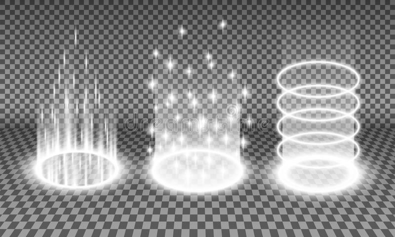 Teleport light effects vector illustrations. Teleport light effects vector illustration, various sci-fi or magical portals isolated on a transparency background stock illustration