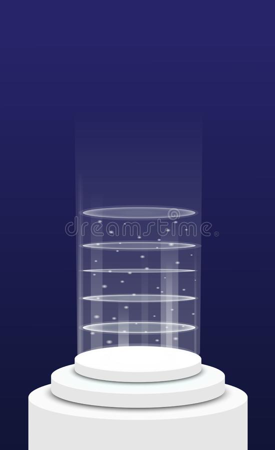 Teleport on round light podium template royalty free illustration