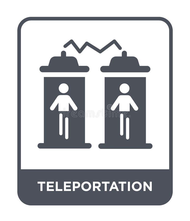 teleportationpictogram in in ontwerpstijl Teleportationpictogram op witte achtergrond wordt geïsoleerd die eenvoudig teleportatio stock illustratie