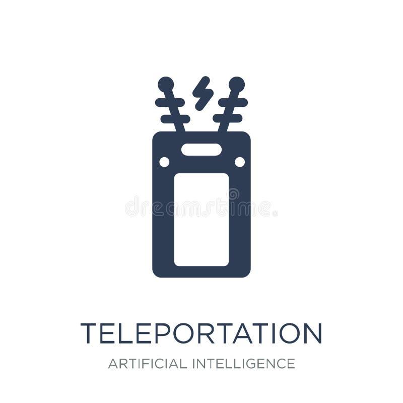 Teleportationpictogram In vlak vectorteleportation-pictogram op whi vector illustratie