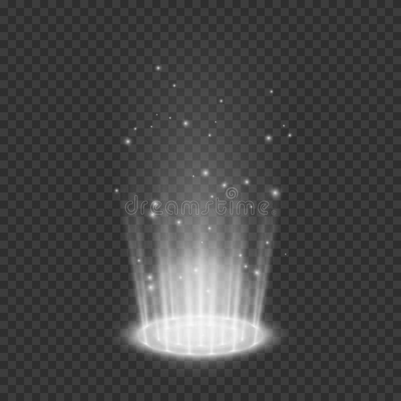Teleportieren Sie Lichteffekte Magisches Portal Futuristisches ganz eigenh?ndig geschriebes Gestaltungselement Vektorillustration lizenzfreie abbildung