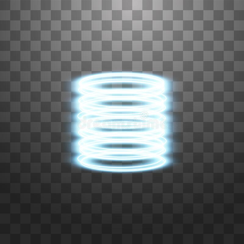 Teleporto futurístico Portal de fantasia mágica Efeito da luz Raios de velas azuis de uma cena noturna com faíscas em um transpar ilustração stock