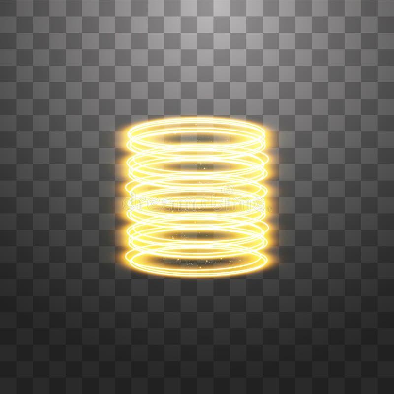 Teleporto futurístico Portal de fantasia mágica Efeito da luz Velas douradas raios de uma cena noturna com faíscas em uma ilustração stock