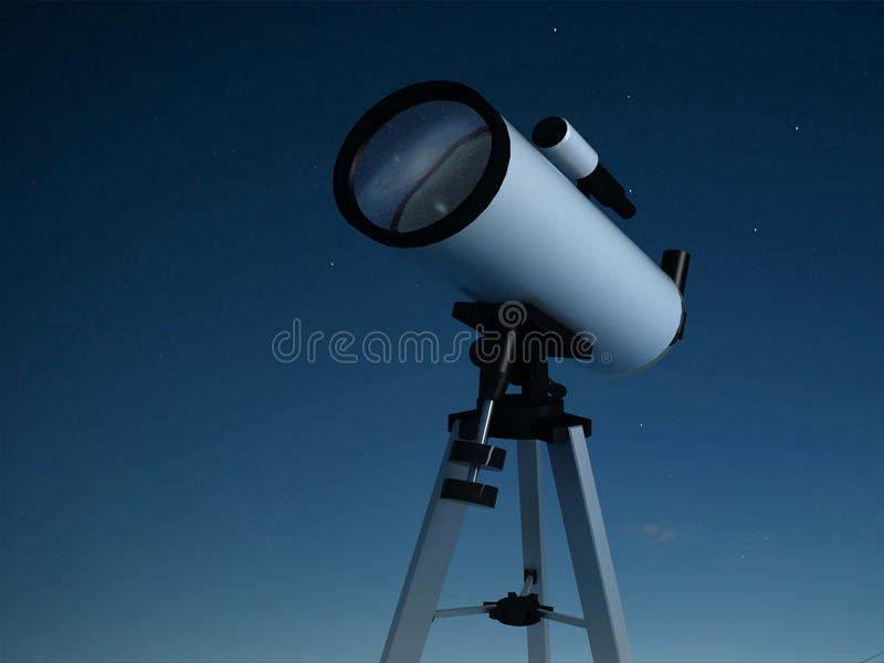 Download Telescópio ilustração stock. Ilustração de escuro, azul - 10062064