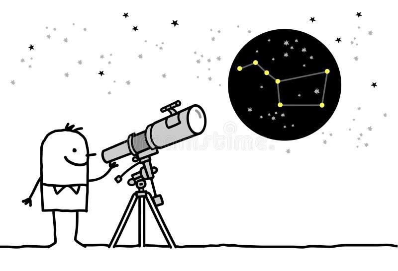 Telescópio & constelação ilustração royalty free