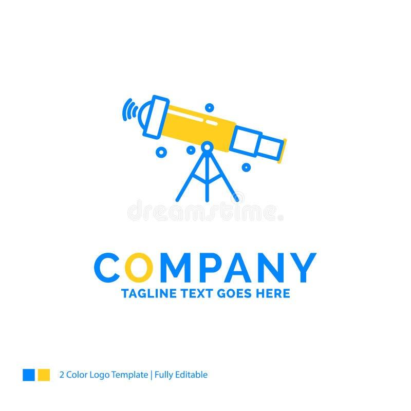 telescópio, astronomia, espaço, vista, log amarelo azul do negócio do zumbido ilustração do vetor