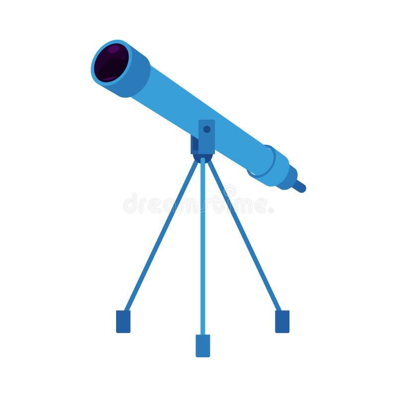 Telescópio azul do vetor no tripé ilustração do vetor