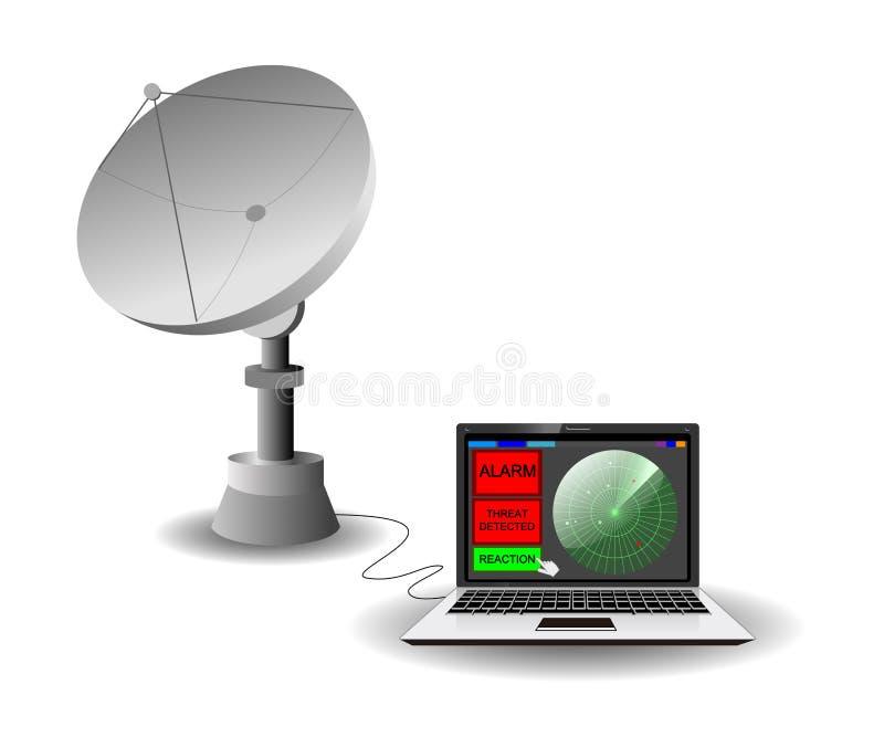 Telescópio de rádio e interface de utilizador do radar ilustração stock
