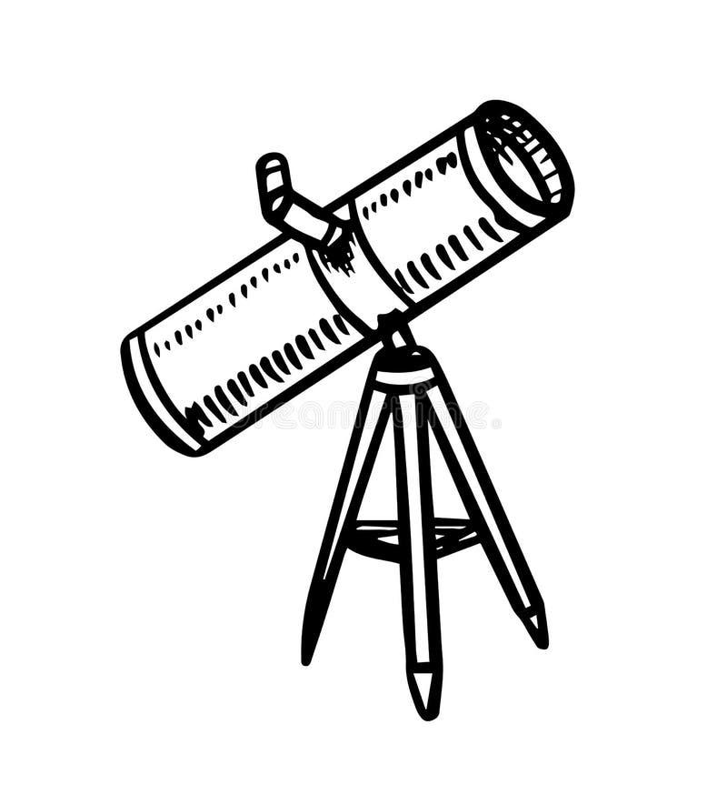 Telescópio do astronauta para observar as estrelas, os planetas e o espaço Esboço da astronomia para o emblema ou logotipo no est ilustração royalty free
