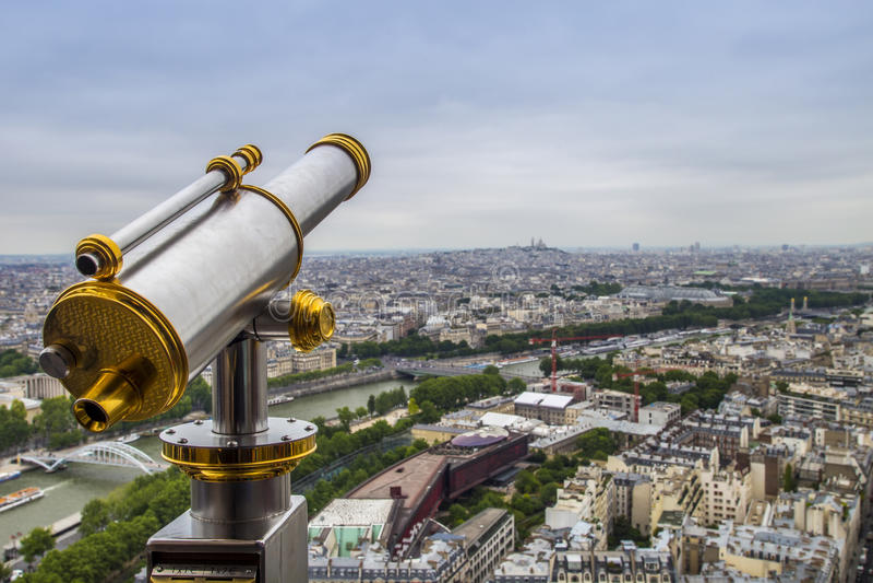 Telescópio dourado fotografia de stock royalty free