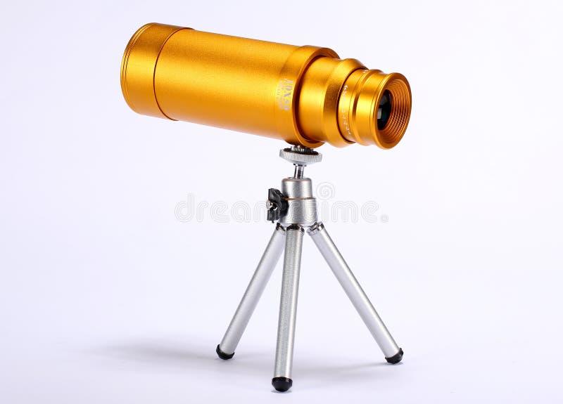 Telescópio dourado imagens de stock