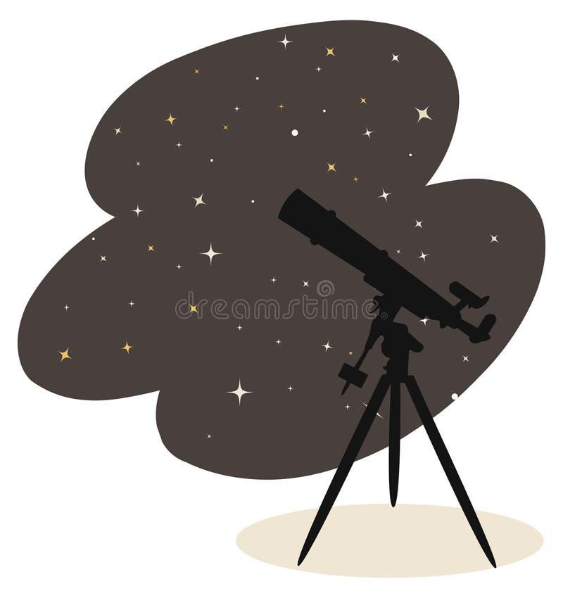 Telescópio e estrelas ilustração royalty free