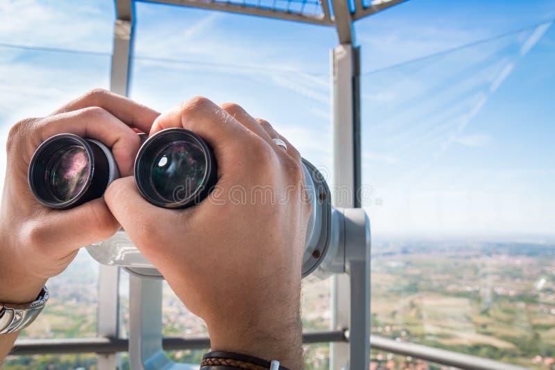Telescópio na torre fotografia de stock