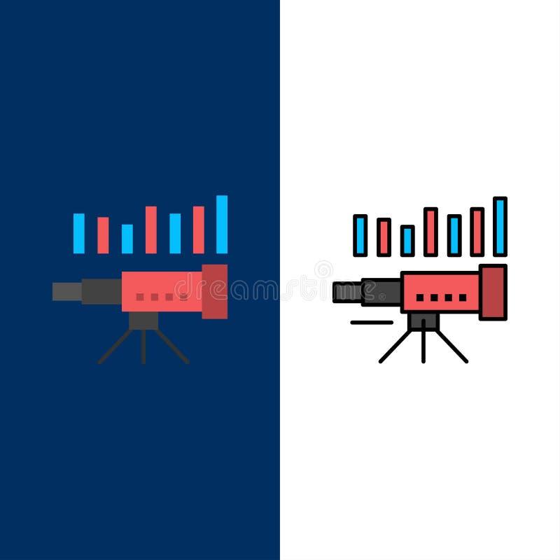 Telescópio, negócio, previsão, previsão, mercado, tendência, ícones da visão O plano e a linha ícone enchido ajustaram o fundo az ilustração stock