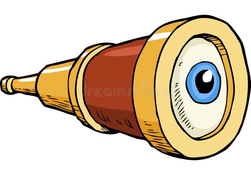 Telescópio pequeno com olho ilustração royalty free