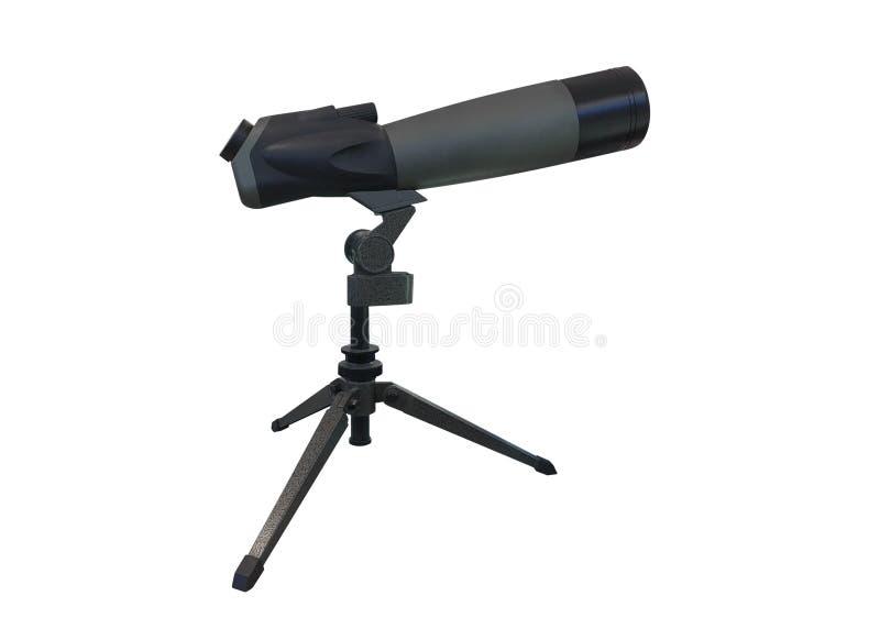 Telescópio pequeno em um tripé isolado em um fundo branco imagem de stock