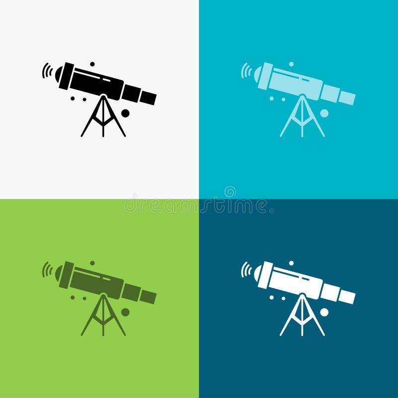 telescoop, astronomie, ruimte, mening, gezoempictogram over Diverse Achtergrond glyph stijlontwerp, voor Web dat en app wordt ont vector illustratie