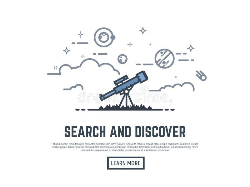 Telescoop die banner zoeken vector illustratie