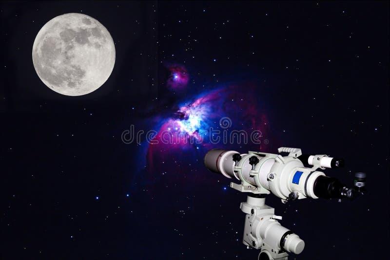 Telescoop die op Groot Orion Nebula, M42, NGC1976 op dark letten vector illustratie