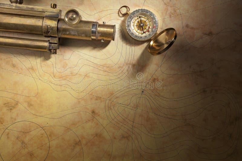 Telescoop en kompas met overzeese kaart royalty-vrije stock afbeeldingen