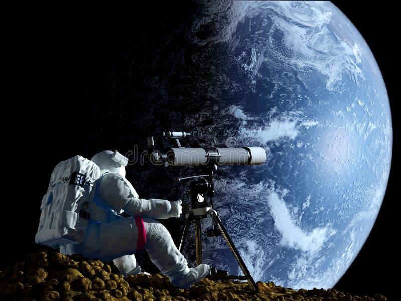 Telescoop in ruimte stock illustratie