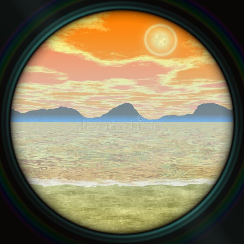Telescoopmening, romantisch landschap met overzees en bergen, oranje zonsopgang, beeld in zachte pastelkleuren royalty-vrije illustratie