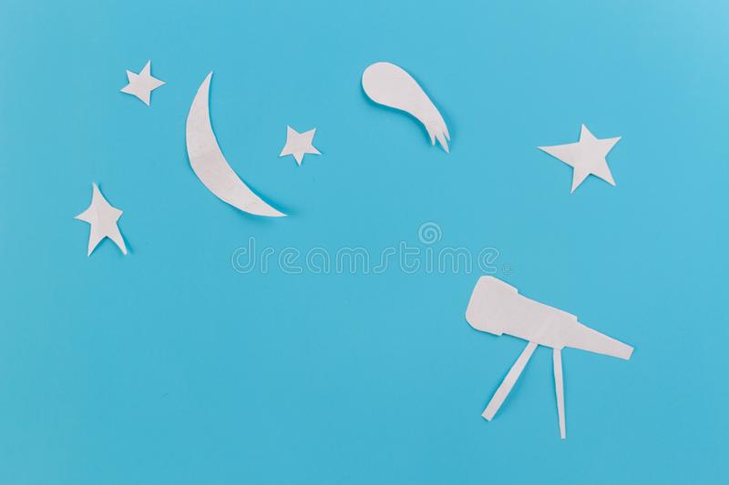 Telescope for astronomy. Over starry sky background royalty free stock photo