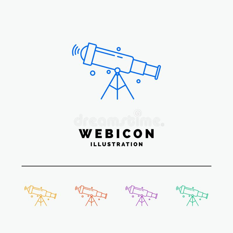 Telescope, astronomy, space, view, zoom 5 Color Line Web Icon Template isolated on white. Vector illustration. Vector EPS10 Abstract Template background stock illustration