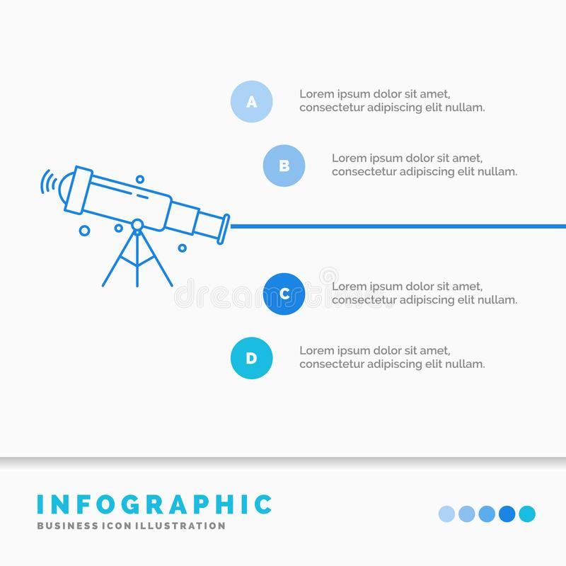Telescope, astronomy, space, view, zoom Infographics Template for Website and Presentation. Line Blue icon infographic style. Vector illustration. Vector EPS10 vector illustration