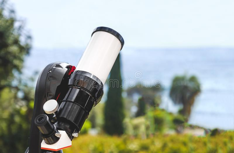 Telescope background astronomy science instrument. Sky observation stock images