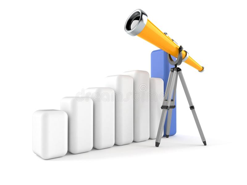Telescope with chart. Isolated on white background royalty free illustration