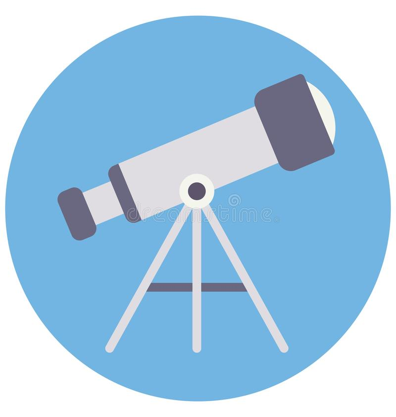 Basic RGB Telescope Color Isolated Vector Icon that can be easily modified or edit stock illustration