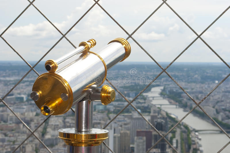 Download Telescope on Eiffel tower stock image. Image of vision - 31788619