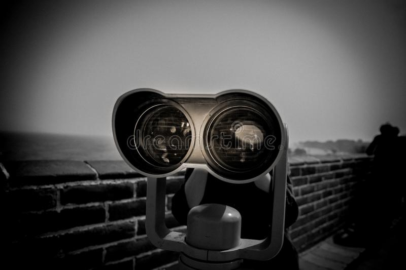 Telescope on Great wall royalty free stock photo
