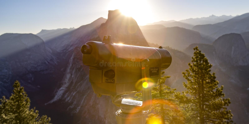 Telescope and Half Dome in Yosemite California royalty free stock photos