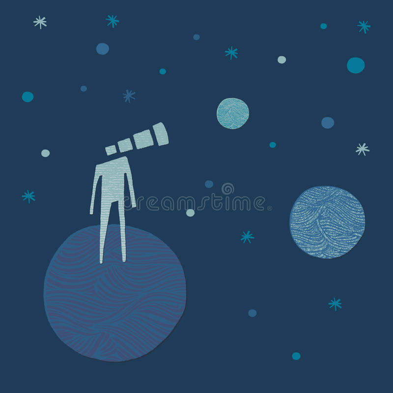 Telescope-head man looking to the stars stock photo
