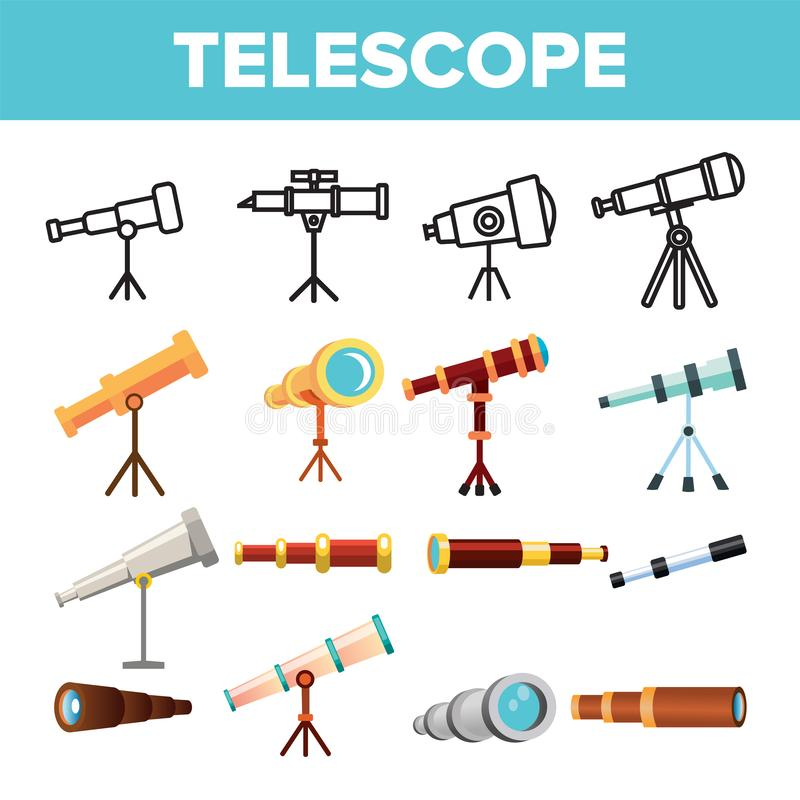 Telescope Icon Set Vector. Spyglass Discover Tool. Astronomy Science Magnify Instrument. Learning Universe. Planetarium. Watching Lens. Flat Illustration vector illustration