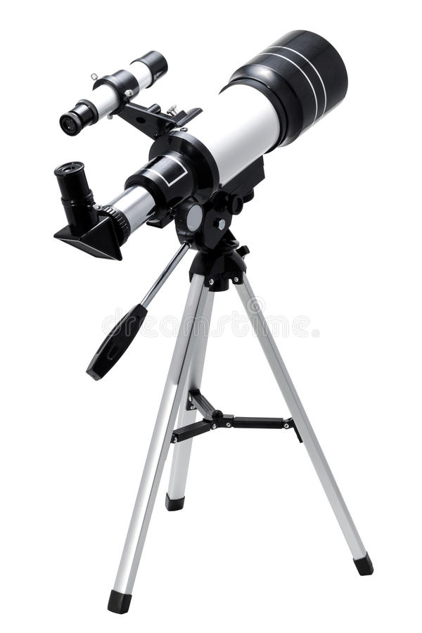 Telescope. Isolated on a white background stock photography
