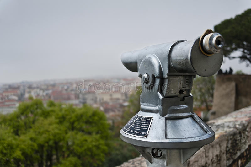 Telescope in Lisbon's Castle royalty free stock photo